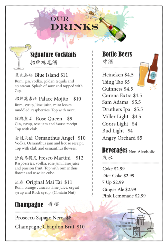 New Drinking Menu